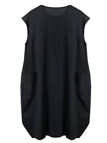 SCOFEEL Women's Cotton Linen Tunics Summer Lagenlook Baggy Day Dress with Pockets Black