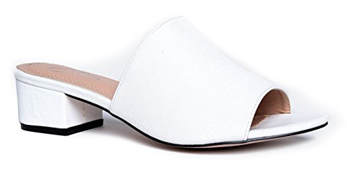 J. Adams Low Slip On Sandal Slide - Comfortable Everyday Block Heel - Trendy Slipper Shoe - Rudi by (White Womens Sandals Size 10)