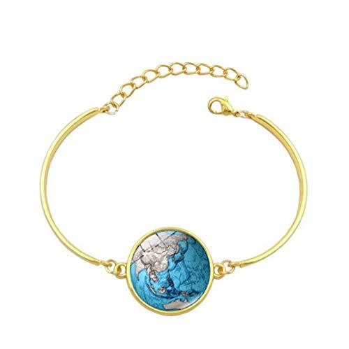 Fashion Glass Jewelry Vintage Gold Silver Bracelet Planet Earth World Globe Map Bracelets Art Dome Bangle for Women