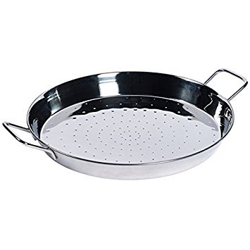 """16"""" Stainless Steel Paella Pan with 2 Sides Handles 