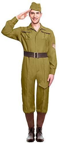 Mens Green Wartime Soldier Uniform WW1 WW2