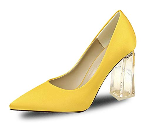 WSKEISP Womens Closed Pointed Toe Pumps High Chunky Clear Block Heel Dress Office Shoes Yellow Size US7.5 EU39