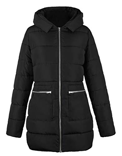 iLoveSIA Women's Outdoor Down Alternative Quilted Padded Thicken Puffer Coat Hood Black