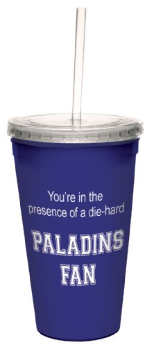 Tree-Free Greetings cc34712 Paladins College Basketball Artful Traveler Double-Walled Cool Cup with Reusable Straw, 16-Ounce