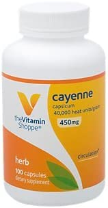 The Vitamin Shoppe Cayenne 450MG Capsicum , Promotes Cardiovascular Health Circulation Support, 40,000 Heat Units Gram 100 Capsules