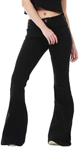 60s 70s Black Denim Flares Bell Bottoms Wide Bell Bottom Jeans
