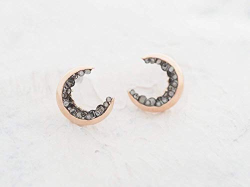 Rose Gold Plated Crescent Moon Stud ()