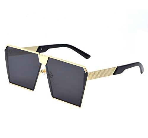 YANQIUYU Oversized Square Sunglasses Metal Frame Flat Top Sunglasses ,UV400 (Gold /Black, - Frames Face Best Eyeglass Square For