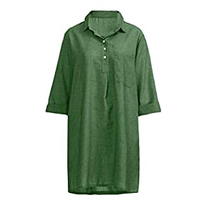 Tosonse Solid Color Linen Dresses for Women Summer Plus Size 3/4 Sleeve T Shirt Dress