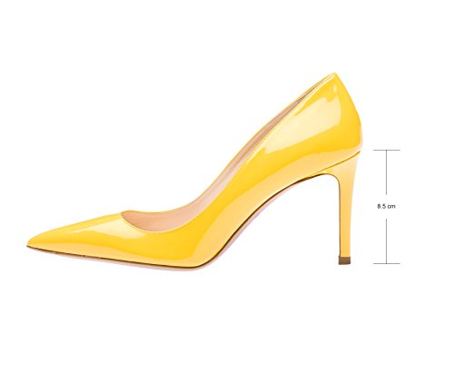 Guoar Kvinners Stiletto Store Størrelse Sko Spisse Tå Damene Høy Hæl Pumper For Arbeid Prom Kjole Part B-gul Patent