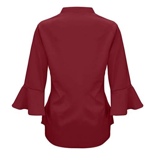 donna camicetta lunghe maniche shirt solido t tops donna chiffon Wanshop V Red allentato Wine casuale da a collo BXIxw5qg