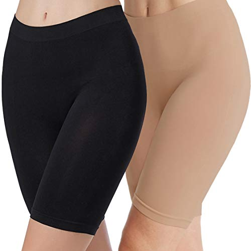 (Women Seamless Slip Shorts Smooth Panty 2 Pieces Black Nude M)
