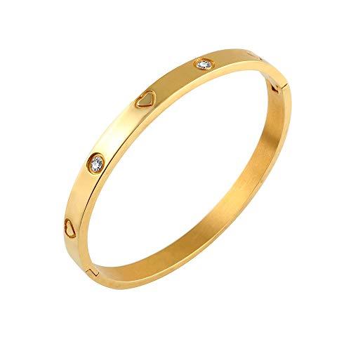 Designer Inspired Titanium Steel Engraved Love Heart Bracelet with Swarovski Crystals (Gold)