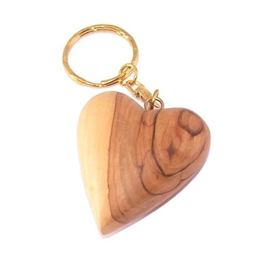 Heavy Jerusalem Olive Wood Carved Heart Key Chain or ring - 2 inches long and 1 inch thick