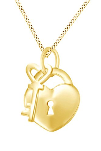 AFFY Key to Your Heart Padlock Pendant Necklace in 14k Yellow Gold Over Sterling
