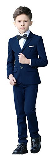 (YuanLu Boys Colorful Formal Suits 5 Piece Slim Fit Dresswear Suit Set (Blue, 5))