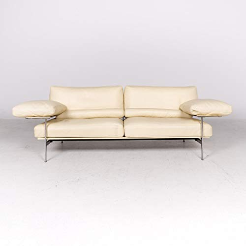 B & B Italia Diesis Designer Leather Sofa Beige Real Leather Three-Seater Couch