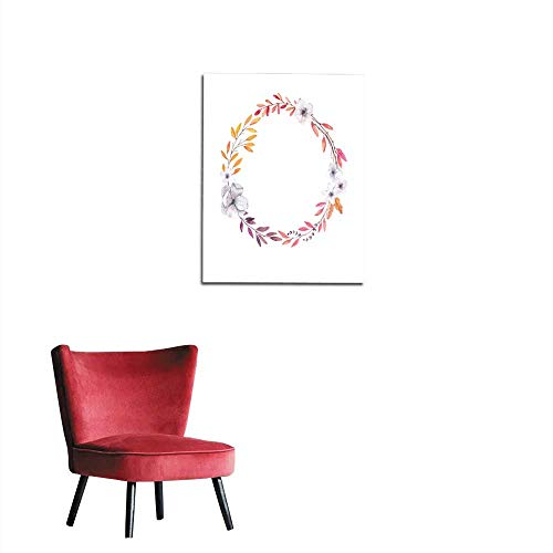 longbuyer Wallpaper Hand Drawn Watercolor Illustration Autumn Wreath Fall Leaves Perfect for -