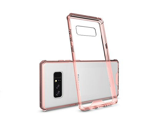 Gold 12' Charger Plate (Galaxy Note 8, Daker Transparent Clear Case with Hard Slim Plastic Back Plate and Shockproof PC Frame for Samsung Galaxy Note 8 (Rose Gold))