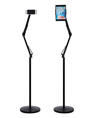 Kufox Long Arm Floor Stand for Phone Tablet, 360 Degree Adjustable Floor Stand Holder for 4.7