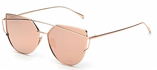 Gold with Pink Lenses Womans Cats Eye Sunglasses Style Designer Twin Beams Sunglasses Adults Girls Sunglasses UVA UVB - Aviator Sunglasses To Buy Where