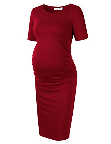 Coolmee MissQee Maternity Dress Ruched Round Neck Maternity Dresses (S, Burgundy#)