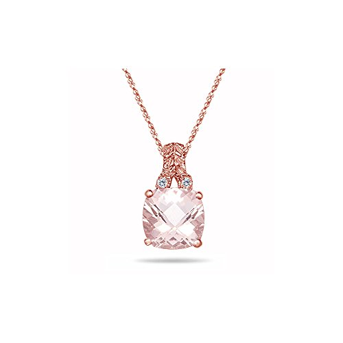 - 0.04 Cts Diamond & 1.69-1.89 Cts of 8 mm AA Cushion Checker Board Morganite Filigree Pendant in 14K Pink Gold - Valentine's Day Sale