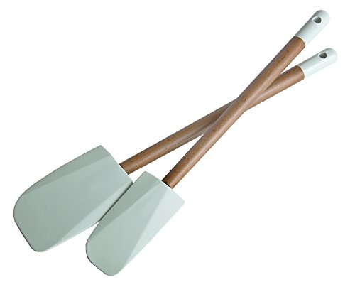 Jamie Oliver Non-Stick Silicone Spatula Set of 2 - Kitchen Utensils for Baking and Cooking - Heat (2 Piece Acacia Silicone)