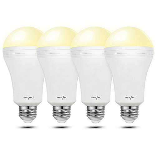 Sengled Everbright Rechargeable Light Bulb Battery Backup Power Outage Emergency Light for Home up to 3.5 Hours Flashlight 3000K Warm White A19 40W Equivalent LED Bulbs, 4 Pack ()