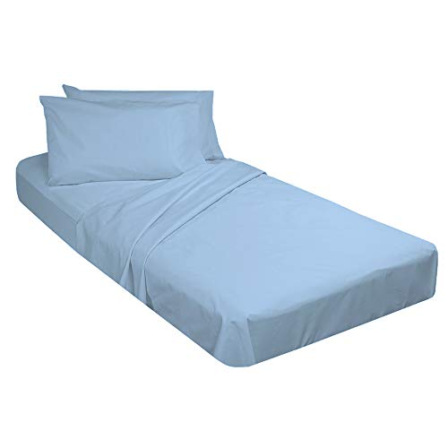 """Cot Sheet and Pillow Case 4 Piece Set - 1 cot Fitted Sheet 33"""" x 75"""", 1 cot Flat Sheet 64""""x 94"""", 2 Pillow Cases 20""""x 30"""" Perfect for Folding Guest Bed Frame,Rollaway Beds (Light Blue Solid)"""