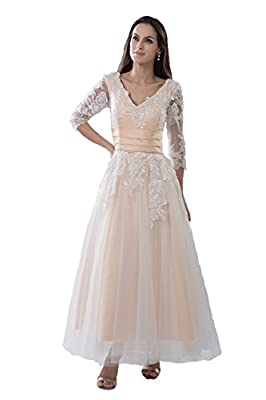 Snowskite Women's A-line V-neck Ankle Length Beach Wedding Bridal Gowns