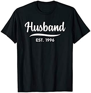 Mens Husband Est 1996  23th Wedding Anniversary for Husband T-shirt | Size S - 5XL