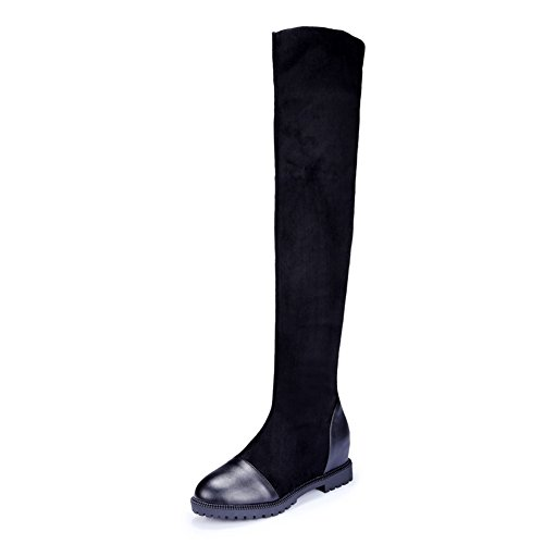 Womens Solid Suede Pull Inside Boots On 1TO9 Black Boots Heighten Round Toe MNS02192 UdOXUq