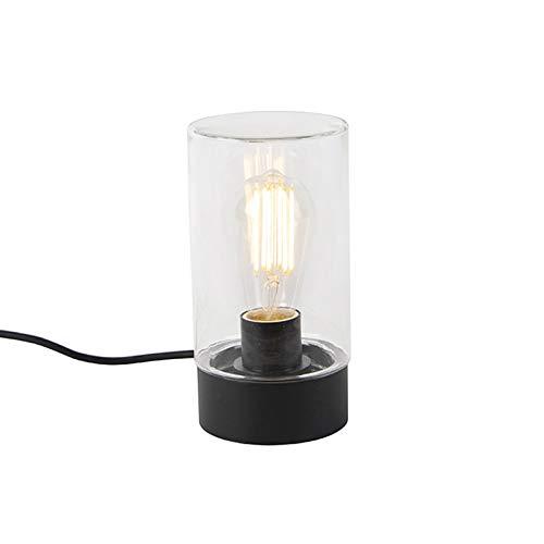 QAZQA – Moderne buitentafellamp zwart IP44 – Jarra | Buitenverlichting – Roestvrij staal (RVS) Cilinder – E27 Geschikt…