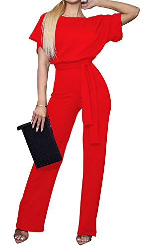 BTFBM Women Short Sleeve Casual Loose Fit Long Pant Jumpsuits Romper with Belt (Red, Medium)
