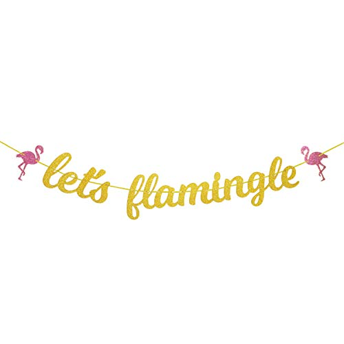 Let's flamingle Gold Glitter Banner for Summer Hawaiian Luau Flamingo Party Bachelorette Party Bridal Shower
