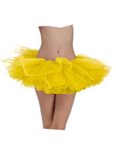 Ick Costume Sexy Neon Yellow Retro Ballet Team School Spirit Colored Skirt Tutu ()