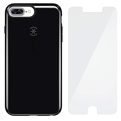 Rubberized Shield Protector Black Case (Speck Products CandyShell Case for iPhone 8 Plus, 7 Plus, 6 Plus Case - Black/Grey + ShieldView Glass Pro)