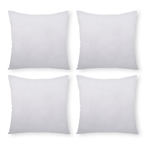 PHANTOSCOPE 4 Packs Polyester Throw Pillow Insert Sham Square Form Sofa Bed Pillow White 20 x 20 inch