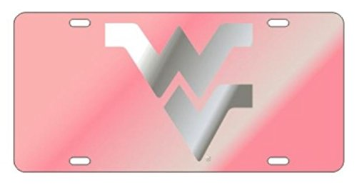 Craftique West Virginia Mountaineers Laser Cut Inlaid Mirrored Pink Plate w/Silver WV