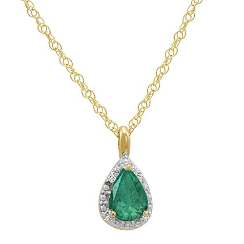 14K Yellow Gold Pear Emerald and Diamond Pendant on a 14K 18 in Yellow Gold Chain
