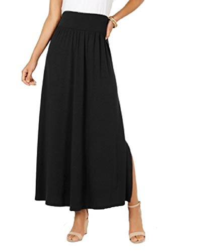 (Style & Co. Side-Slit Maxi Skirt (Deep Black, M))