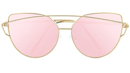 Women Mod Chic Super Cat Eye Sunglasses Vintage Fashion (Gold, Rose Gold Mirror)
