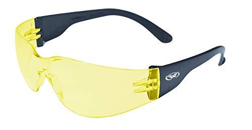 Global Vision Eyewear Rider Safety Glasses, Yellow Tint Mirror Lens Rider YT/M