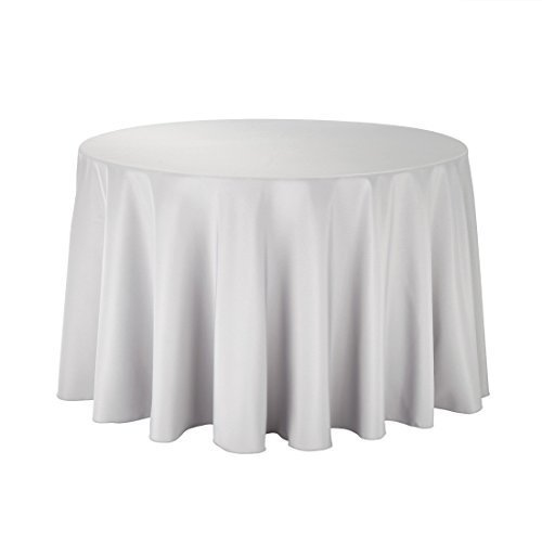 White Cotton Polyester Round Table Cloth Cover For Dining & Christmas Party 70 Inches (Pack Of 10)