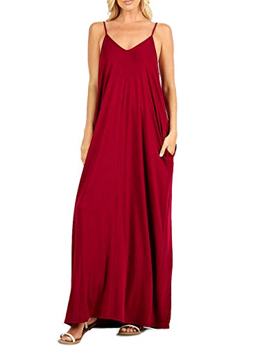 MixMatchy Women's Summer Casual Plain Flowy Pockets Loose Beach Cami Maxi Dress Cabernet S