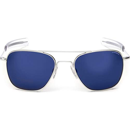 Randolph Designer Aviator Sunglasses AF158 in Matte Chrome with Blue Mirror ()