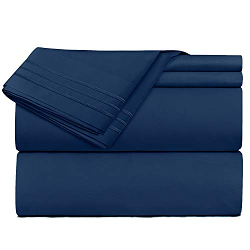 Nestl Bedding 4 Piece Sheet Set - 1800 Deep Pocket Bed Sheet Set - Hotel Luxury Double Brushed Microfiber Sheets - Deep Pocket Fitted Sheet, Flat Sheet, Pillow Cases, Full - Navy Blue