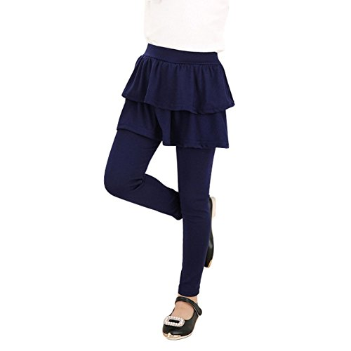 Weixinbuy Girls Double Layer Skirts Pants Cashmere Culottes (130/6-7T, Navy)