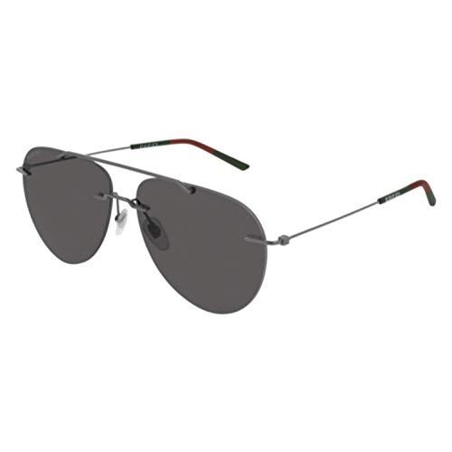 Gucci Rimless Aviator GG 0397S 001 Ruhtneium Metal Rimless Sunglasses Grey ()